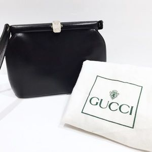 Gucci sterling silver black leather evening bag